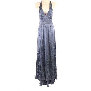 Rhinestone Slate Blue V-Neck Gown Dress Size 6